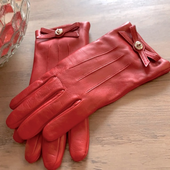 Coach red leather & cashmere gloves